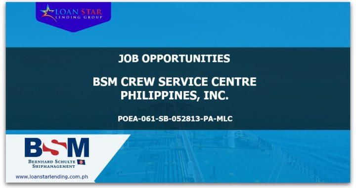 Seafarer Job Opportunities – BSM CREW SERVICE CENTRE